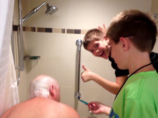 Shave Uncle Tommy! Shave him good!
